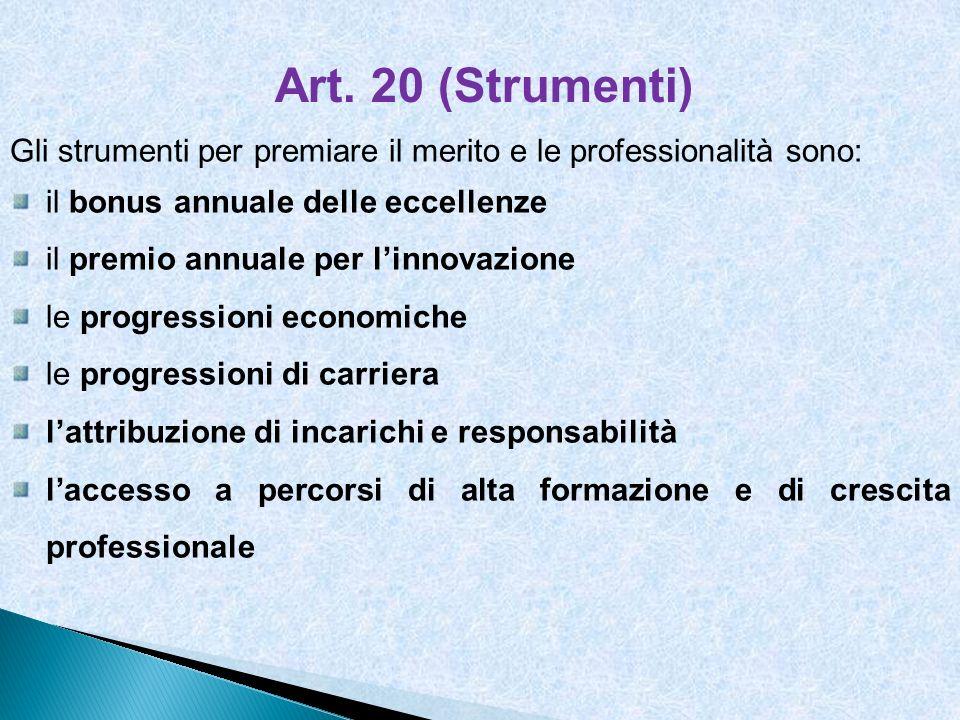 Art. 20 (Strumenti) Gli strumenti per premiare il merito e le professionalità sono: il bonus annuale delle eccellenze il premio annuale per linnovazio