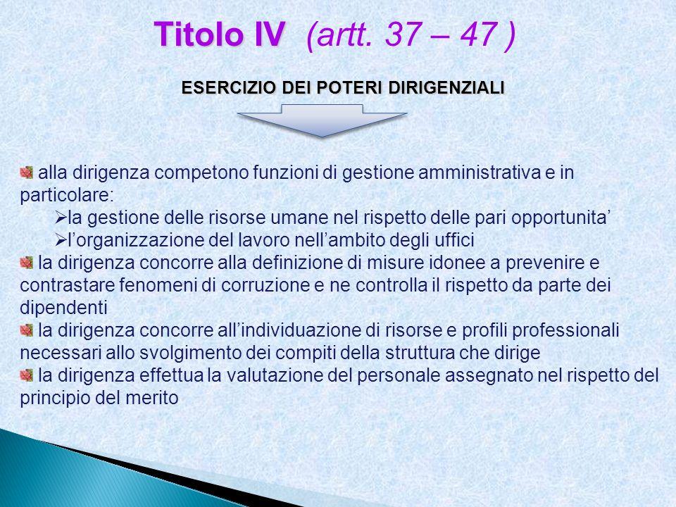 ESERCIZIO DEI POTERI DIRIGENZIALI Titolo IV Titolo IV (artt. 37 – 47 ) alla dirigenza competono funzioni di gestione amministrativa e in particolare: