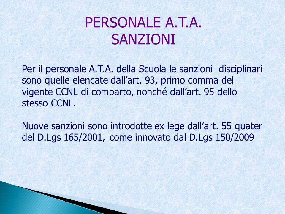 PERSONALE A.T.A. SANZIONI Per il personale A.T.A. della Scuola le sanzioni disciplinari sono quelle elencate dallart. 93, primo comma del vigente CCNL