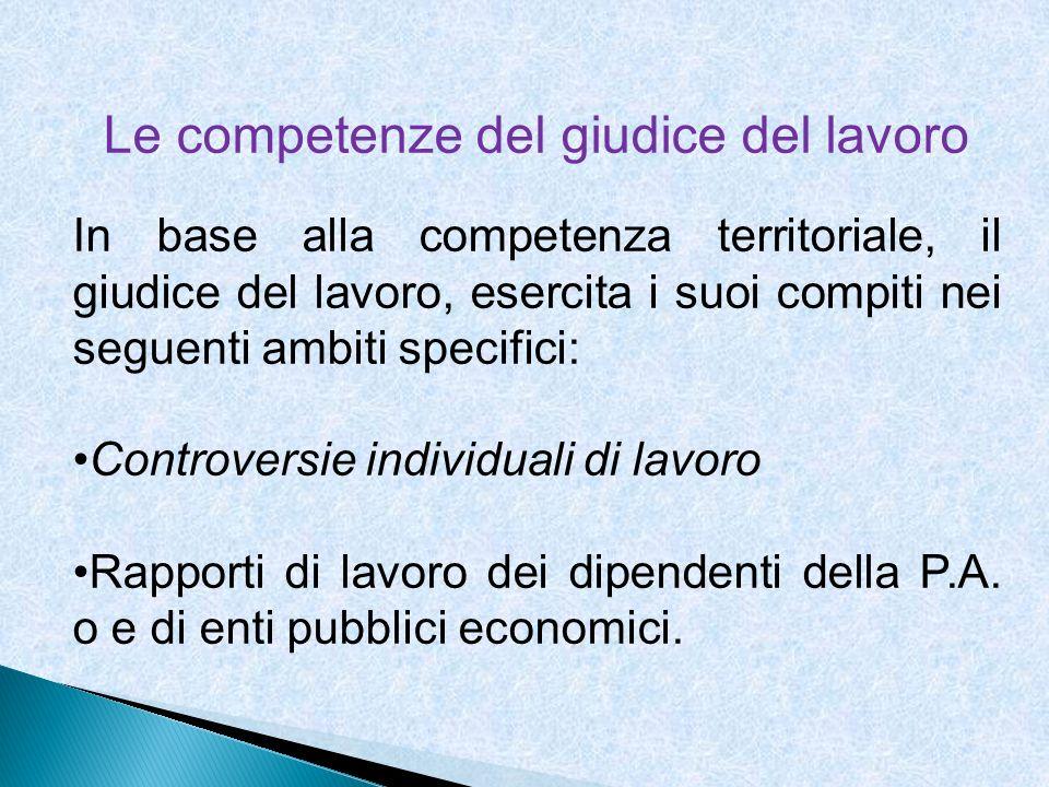 Le competenze del giudice del lavoro In base alla competenza territoriale, il giudice del lavoro, esercita i suoi compiti nei seguenti ambiti specific