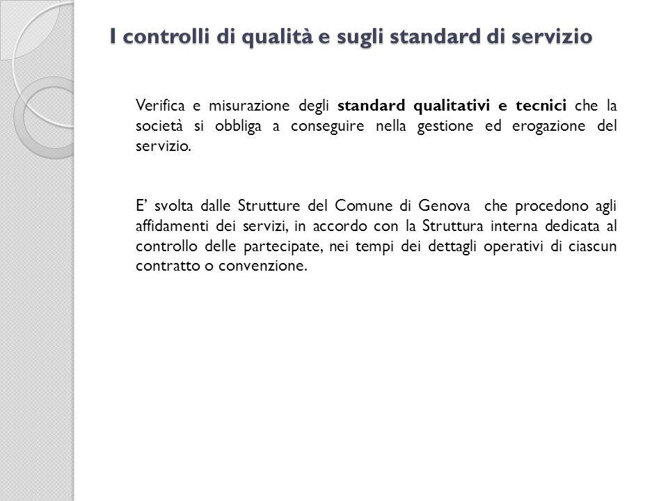 I controlli di qualità e sugli standard di servizio Verifica e misurazione degli standard qualitativi e tecnici che la società si obbliga a conseguire nella gestione ed erogazione del servizio.