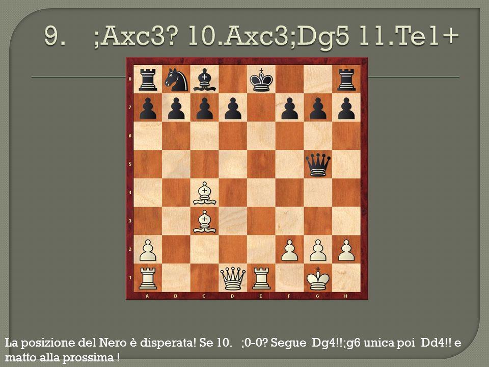 La posizione del Nero è disperata! Se 10. ;0-0? Segue Dg4!!;g6 unica poi Dd4!! e matto alla prossima !