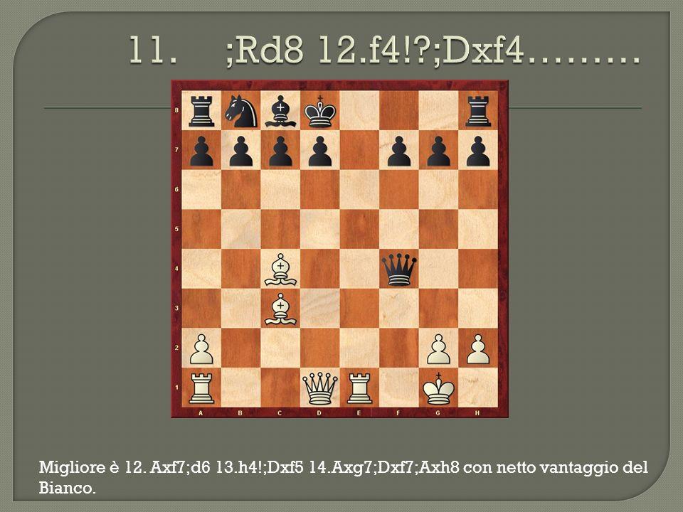 Migliore è 12. Axf7;d6 13.h4!;Dxf5 14.Axg7;Dxf7;Axh8 con netto vantaggio del Bianco.
