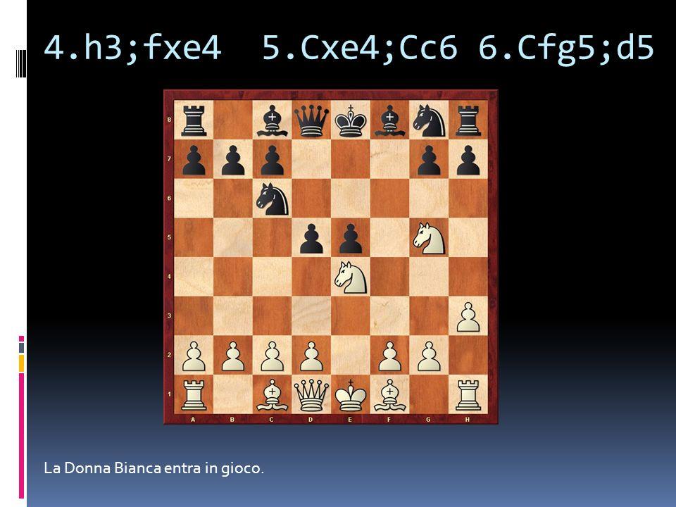 4.h3;fxe4 5.Cxe4;Cc6 6.Cfg5;d5 La Donna Bianca entra in gioco.
