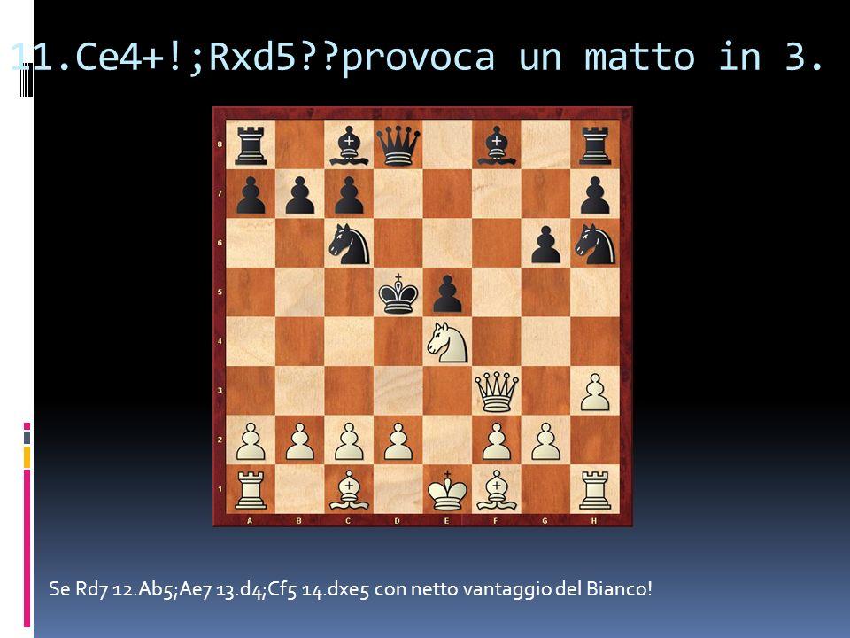 11.Ce4+!;Rxd5??provoca un matto in 3. Se Rd7 12.Ab5;Ae7 13.d4;Cf5 14.dxe5 con netto vantaggio del Bianco!