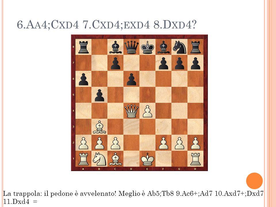 6.A A 4;C XD 4 7.C XD 4; EXD 4 8.D XD 4? La trappola: il pedone è avvelenato! Meglio è Ab5;Tb8 9.Ac6+;Ad7 10.Axd7+;Dxd7 11.Dxd4 =