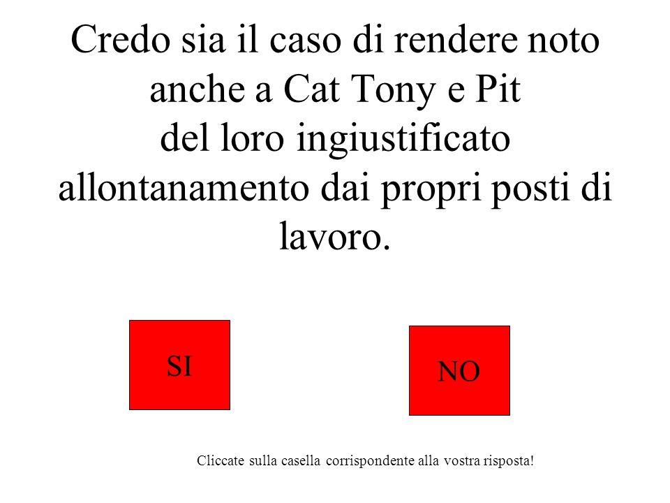 Credo sia il caso di rendere noto anche a Cat Tony e Pit del loro ingiustificato allontanamento dai propri posti di lavoro. SI NO Cliccate sulla casel