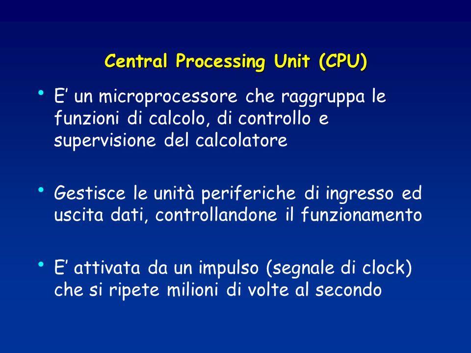 Central Processing Unit (CPU) E un microprocessore che raggruppa le funzioni di calcolo, di controllo e supervisione del calcolatore Gestisce le unità periferiche di ingresso ed uscita dati, controllandone il funzionamento E attivata da un impulso (segnale di clock) che si ripete milioni di volte al secondo