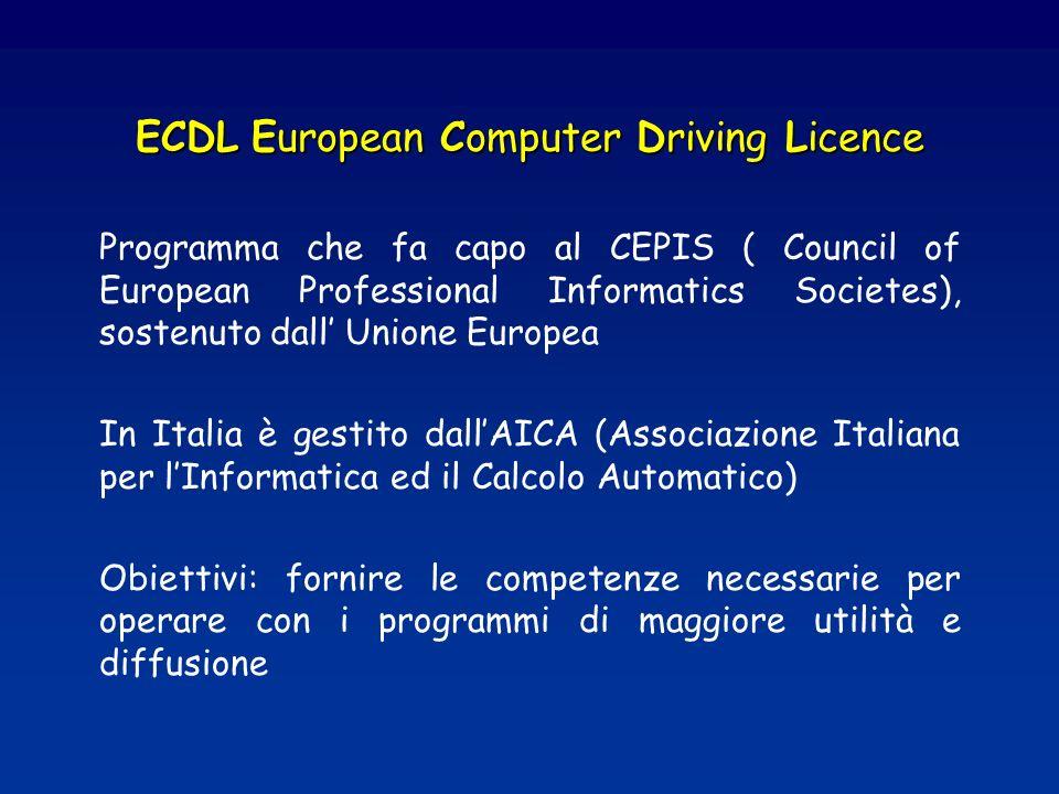 ECDL European Computer Driving Licence Programma che fa capo al CEPIS ( Council of European Professional Informatics Societes), sostenuto dall Unione