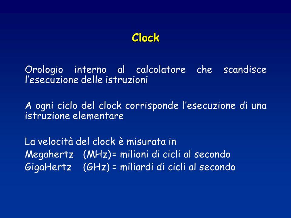 Clock Orologio interno al calcolatore che scandisce lesecuzione delle istruzioni A ogni ciclo del clock corrisponde lesecuzione di una istruzione elementare La velocità del clock è misurata in Megahertz (MHz)= milioni di cicli al secondo GigaHertz(GHz)= miliardi di cicli al secondo