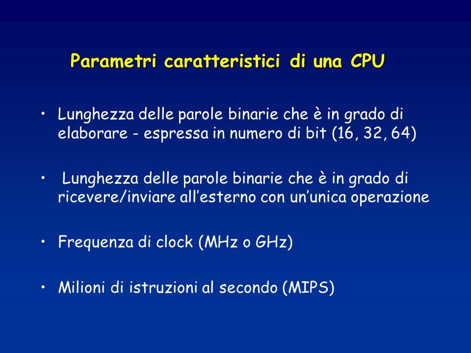 Parametri caratteristici di una CPU Lunghezza delle parole binarie che è in grado di elaborare - espressa in numero di bit (16, 32, 64) Lunghezza delle parole binarie che è in grado di ricevere/inviare allesterno con ununica operazione Frequenza di clock (MHz o GHz) Milioni di istruzioni al secondo (MIPS)
