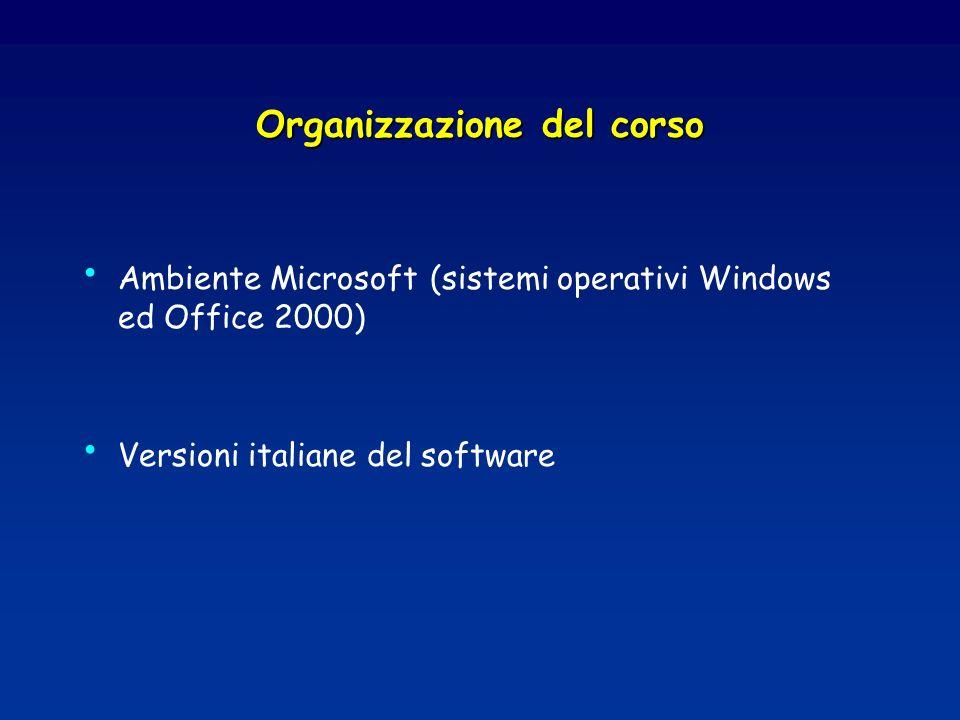 Organizzazione del corso Ambiente Microsoft (sistemi operativi Windows ed Office 2000) Versioni italiane del software