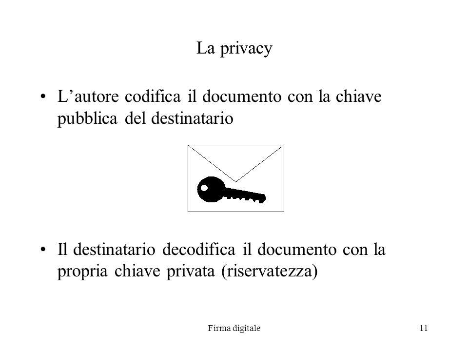 Firma digitale11 La privacy Lautore codifica il documento con la chiave pubblica del destinatario Il destinatario decodifica il documento con la propr