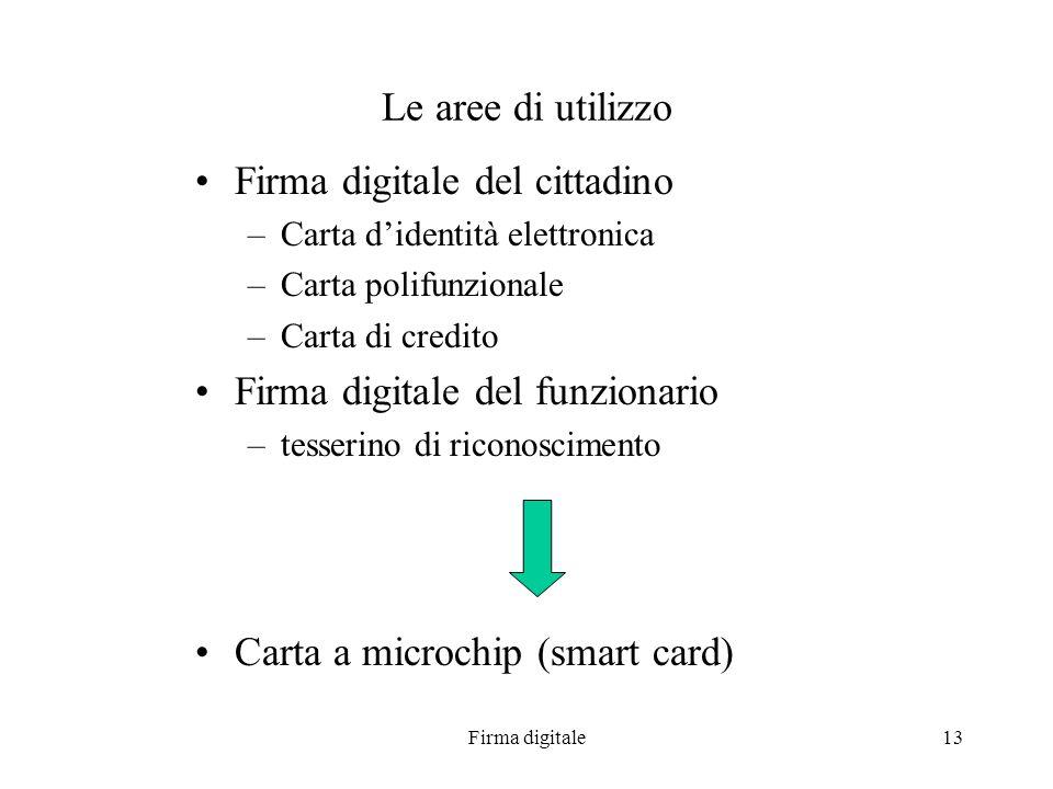 Firma digitale13 Le aree di utilizzo Firma digitale del cittadino –Carta didentità elettronica –Carta polifunzionale –Carta di credito Firma digitale