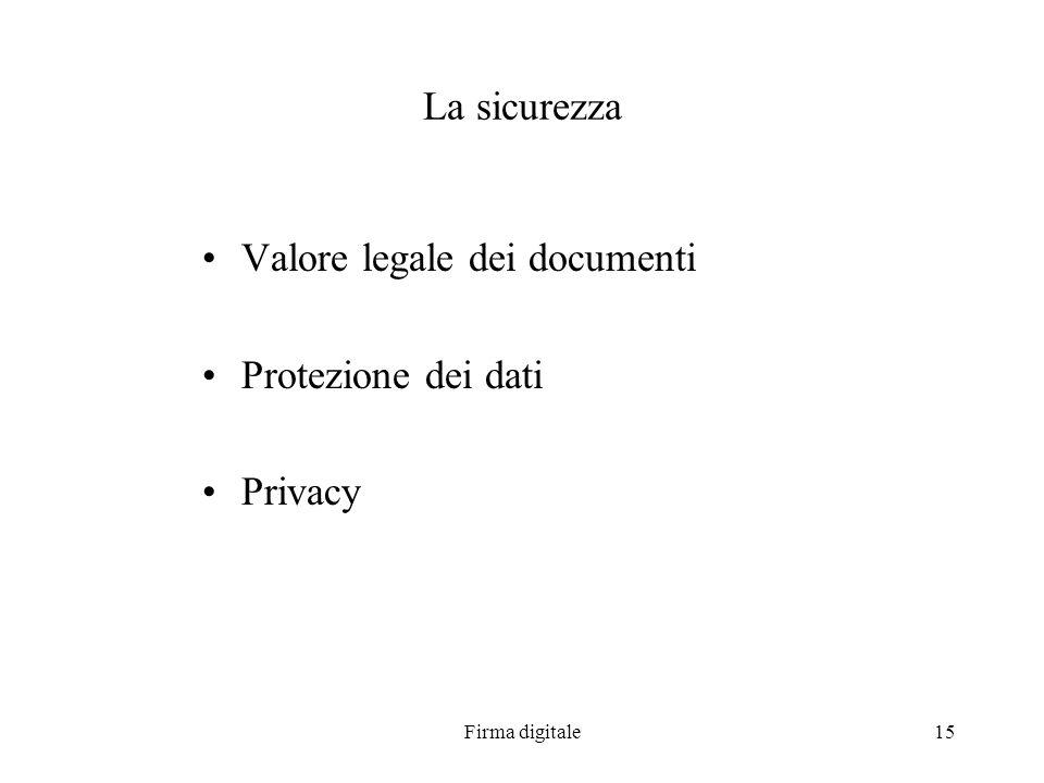 Firma digitale15 La sicurezza Valore legale dei documenti Protezione dei dati Privacy