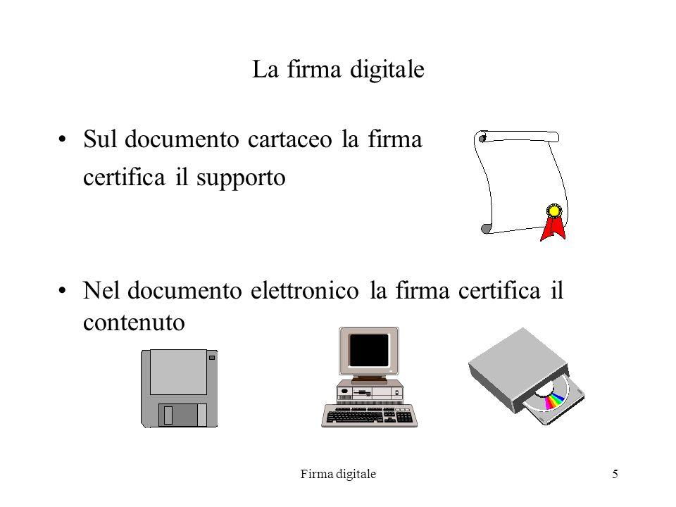 Firma digitale5 La firma digitale Sul documento cartaceo la firma certifica il supporto Nel documento elettronico la firma certifica il contenuto