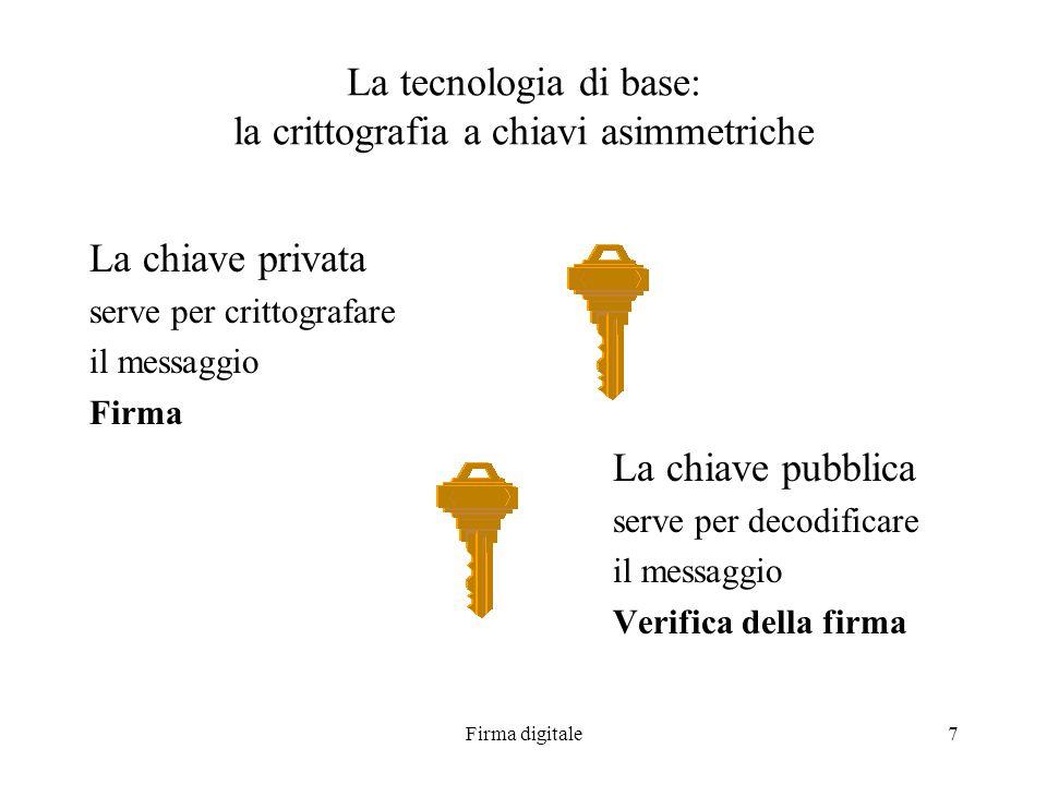 Firma digitale7 La tecnologia di base: la crittografia a chiavi asimmetriche La chiave privata serve per crittografare il messaggio Firma La chiave pu