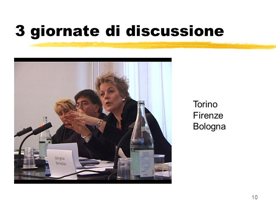 10 3 giornate di discussione Torino Firenze Bologna