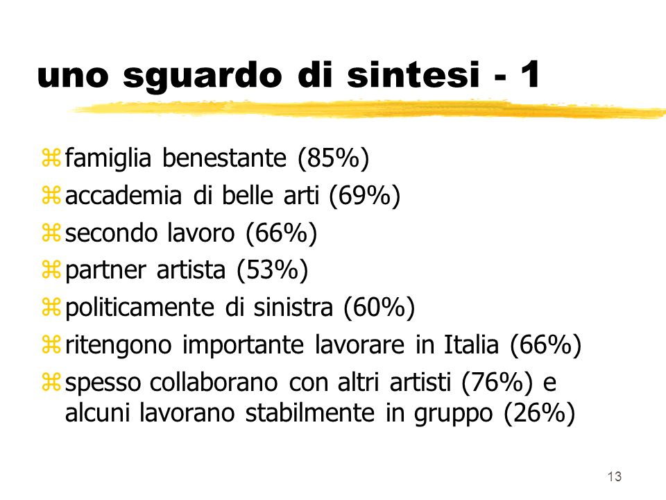 13 uno sguardo di sintesi - 1 famiglia benestante (85%) accademia di belle arti (69%) secondo lavoro (66%) partner artista (53%) politicamente di sinistra (60%) ritengono importante lavorare in Italia (66%) spesso collaborano con altri artisti (76%) e alcuni lavorano stabilmente in gruppo (26%)