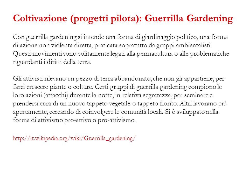 Con guerrilla gardening si intende una forma di giardinaggio politico, una forma di azione non violenta diretta, praticata sopratutto da gruppi ambien