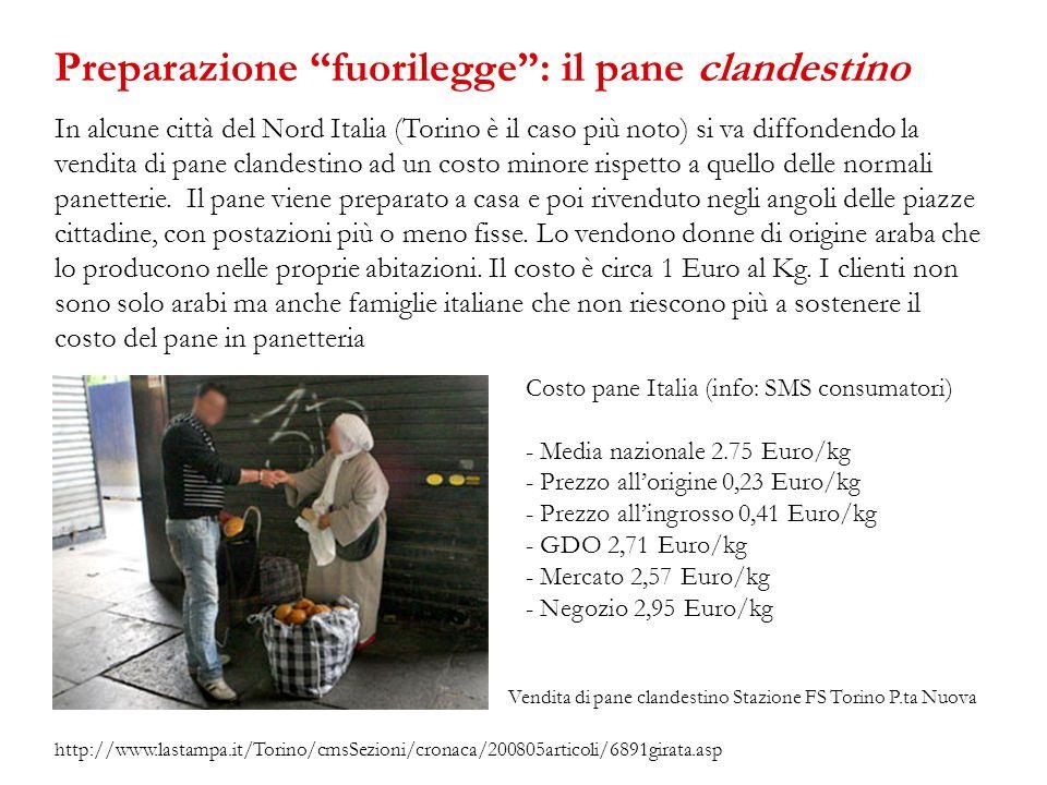 In alcune città del Nord Italia (Torino è il caso più noto) si va diffondendo la vendita di pane clandestino ad un costo minore rispetto a quello dell