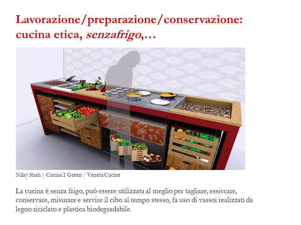 La cucina è senza frigo, può essere utilizzata al meglio per tagliare, essiccare, conservare, misurare e servire il cibo al tempo stesso, fa uso di va