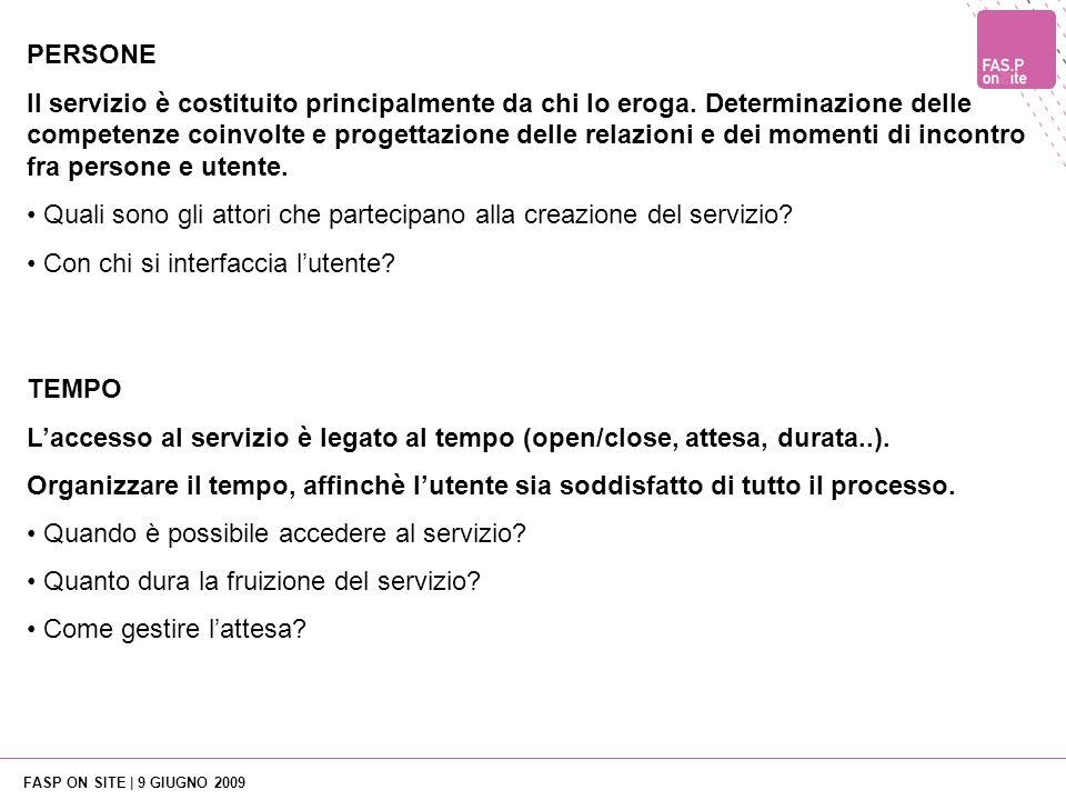 FASP ON SITE | 9 GIUGNO 2009 TEMPO Laccesso al servizio è legato al tempo (open/close, attesa, durata..).