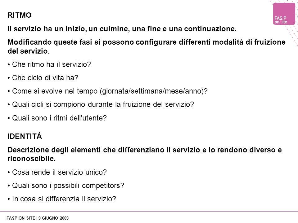 FASP ON SITE | 9 GIUGNO 2009 IDENTITÀ Descrizione degli elementi che differenziano il servizio e lo rendono diverso e riconoscibile.