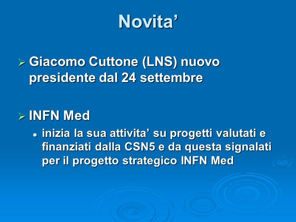 Novita Giacomo Cuttone (LNS) nuovo presidente dal 24 settembre Giacomo Cuttone (LNS) nuovo presidente dal 24 settembre INFN Med INFN Med inizia la sua