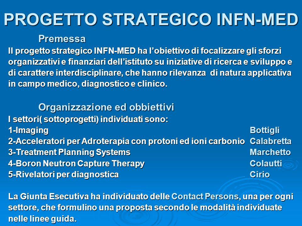 PROGETTO STRATEGICO INFN-MED Premessa Il progetto strategico INFN-MED ha lobiettivo di focalizzare gli sforzi organizzativi e finanziari dellistituto su iniziative di ricerca e sviluppo e di carattere interdisciplinare, che hanno rilevanza di natura applicativa in campo medico, diagnostico e clinico.