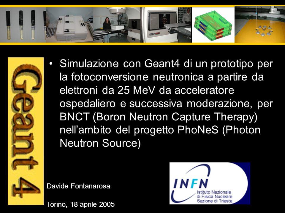 Davide Fontanarosa Torino, 18 aprile 2005 Simulazione con Geant4 di un prototipo per la fotoconversione neutronica a partire da elettroni da 25 MeV da