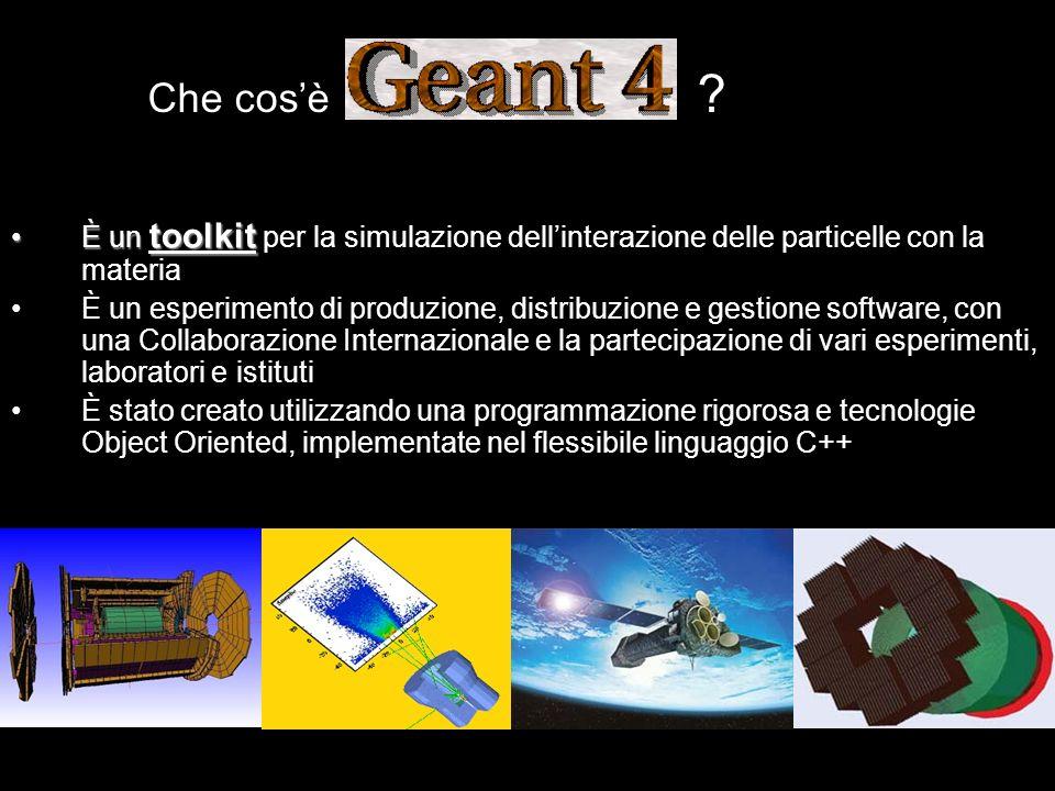 Che cosè ? È un toolkitÈ un toolkit per la simulazione dellinterazione delle particelle con la materia È un esperimento di produzione, distribuzione e