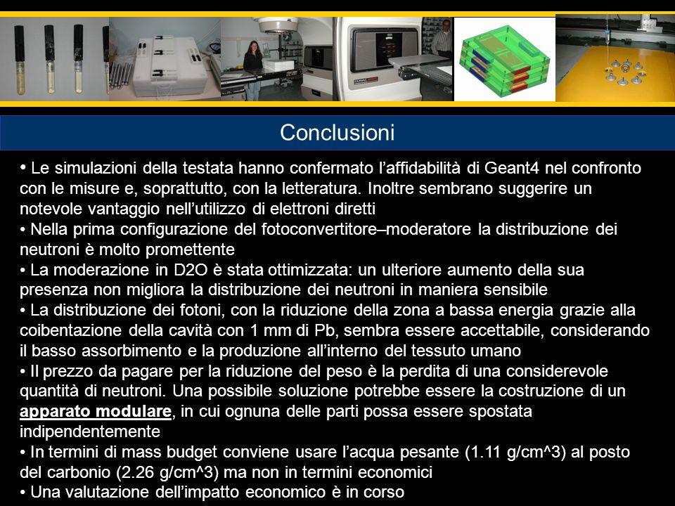 Conclusioni Le simulazioni della testata hanno confermato laffidabilità di Geant4 nel confronto con le misure e, soprattutto, con la letteratura. Inol