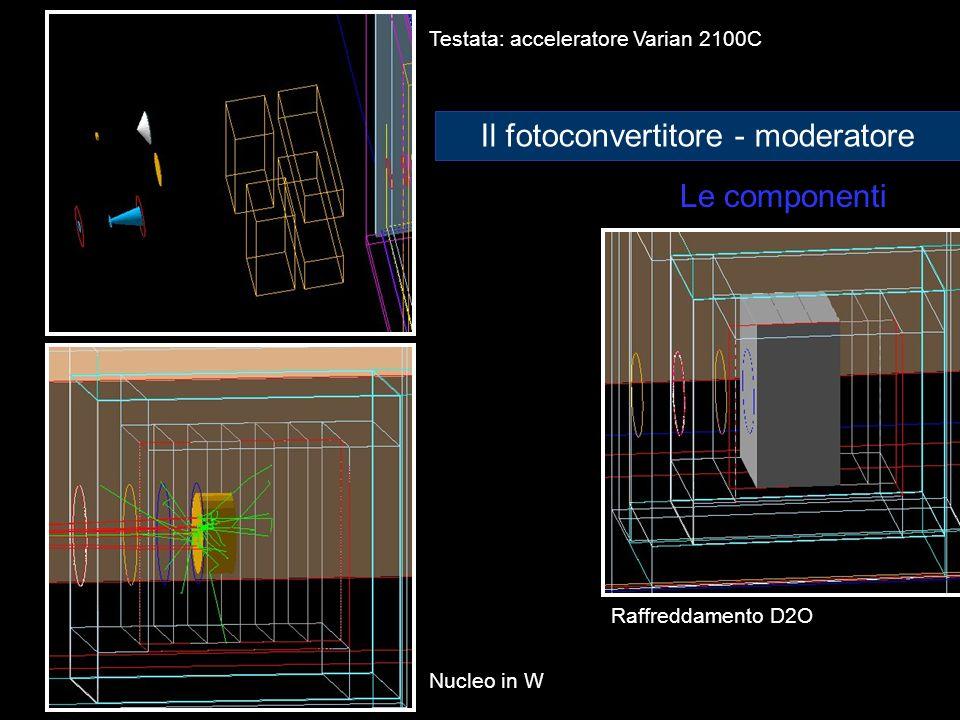 Le componenti Testata: acceleratore Varian 2100C Nucleo in W Raffreddamento D2O Il fotoconvertitore - moderatore