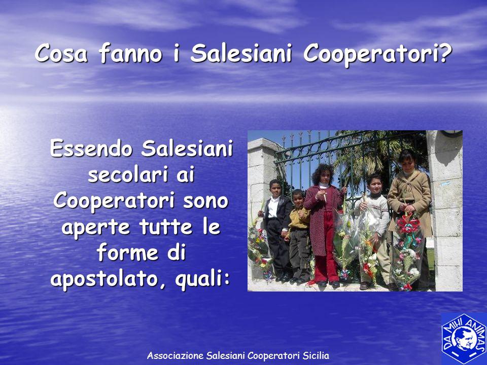 Cosa fanno i Salesiani Cooperatori? Essendo Salesiani secolari ai Cooperatori sono aperte tutte le forme di apostolato, quali: Essendo Salesiani secol
