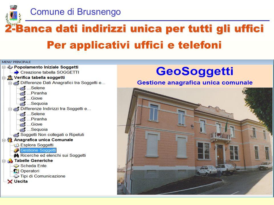 Comune di Brusnengo 2-Banca dati indirizzi unica per tutti gli uffici Per applicativi uffici e telefoni