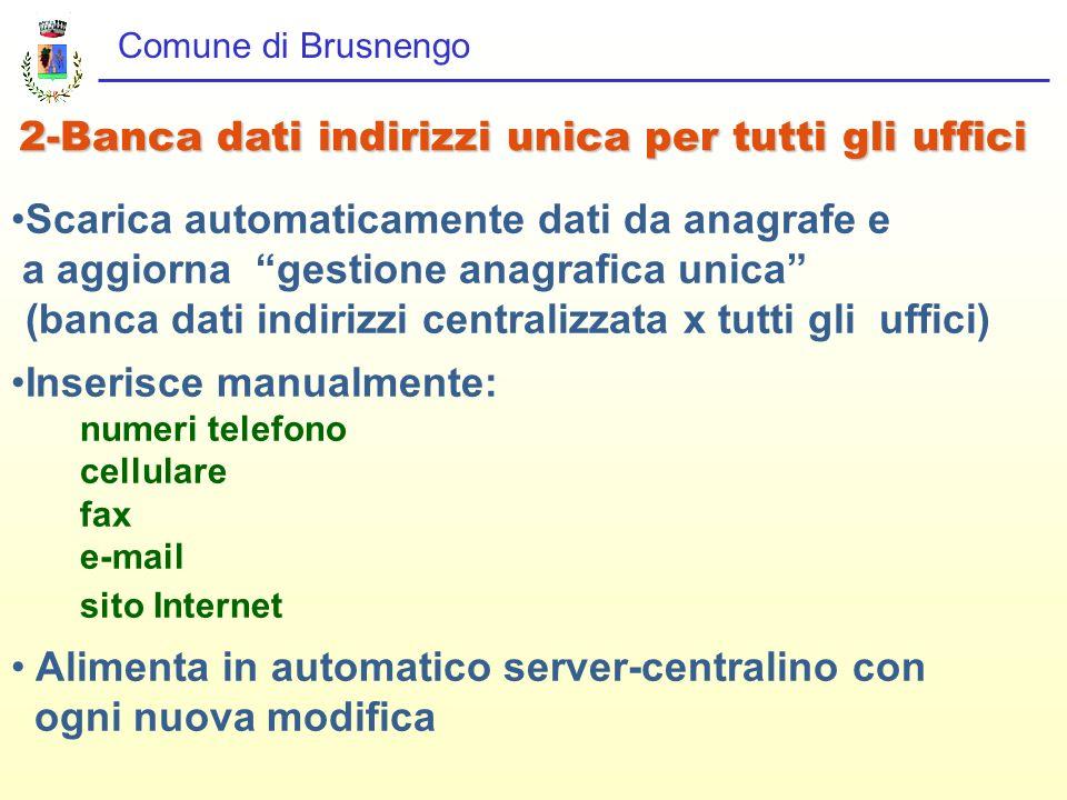 Comune di Brusnengo 2-Banca dati indirizzi unica per tutti gli uffici Scarica automaticamente dati da anagrafe e a aggiorna gestione anagrafica unica