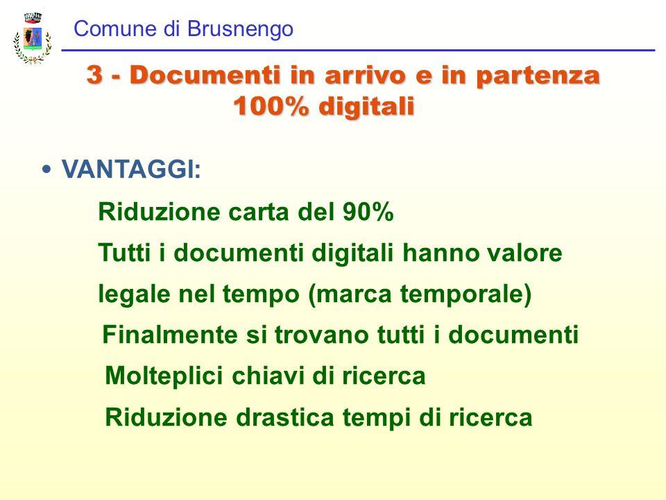 Comune di Brusnengo 3 - Documenti in arrivo e in partenza 100% digitali 100% digitali VANTAGGI: Riduzione carta del 90% Tutti i documenti digitali han