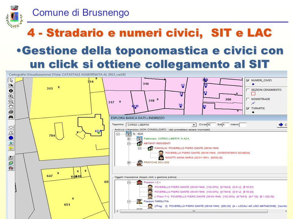 Comune di Brusnengo 4 - Stradario e numeri civici, SIT e LAC Gestione della toponomastica e civici con un click si ottiene collegamento al SITGestione