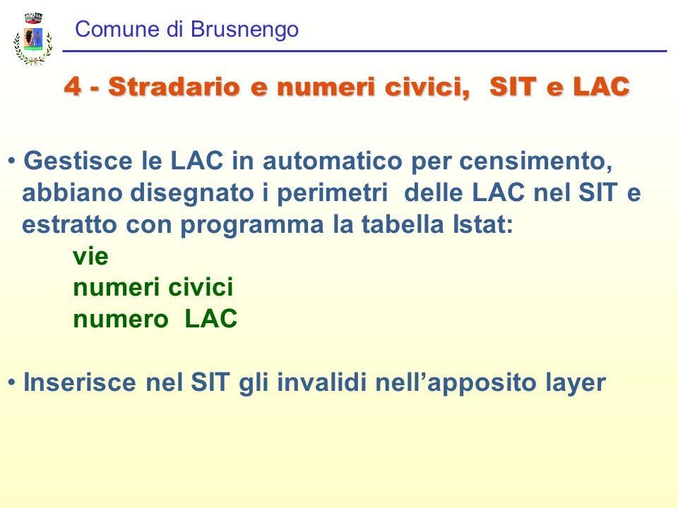Comune di Brusnengo 4 - Stradario e numeri civici, SIT e LAC Gestisce le LAC in automatico per censimento, abbiano disegnato i perimetri delle LAC nel