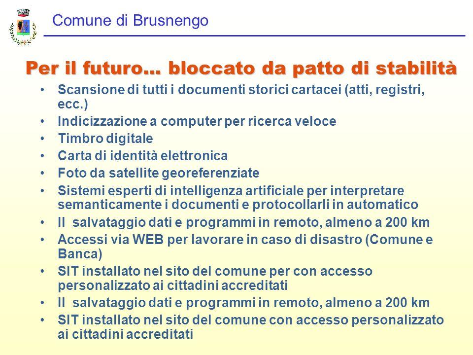 Comune di Brusnengo Scansione di tutti i documenti storici cartacei (atti, registri, ecc.) Indicizzazione a computer per ricerca veloce Timbro digital