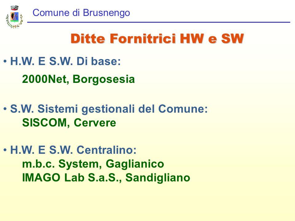 Comune di Brusnengo H.W. E S.W. Di base: 2000Net, Borgosesia S.W. Sistemi gestionali del Comune: SISCOM, Cervere H.W. E S.W. Centralino: m.b.c. System