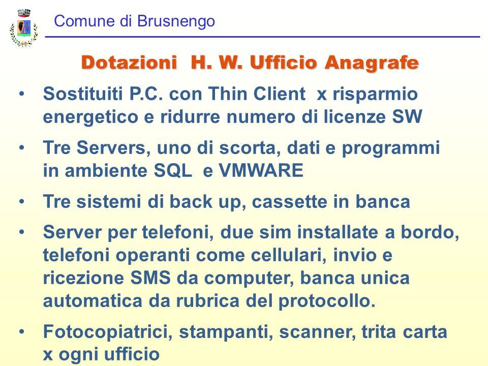 Comune di Brusnengo Dotazioni H. W. Ufficio Anagrafe Sostituiti P.C. con Thin Client x risparmio energetico e ridurre numero di licenze SW Tre Servers