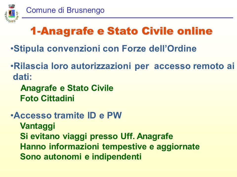 Comune di Brusnengo 1-Anagrafe e Stato Civile online Stipula convenzioni con Forze dellOrdine Rilascia loro autorizzazioni per accesso remoto ai dati: