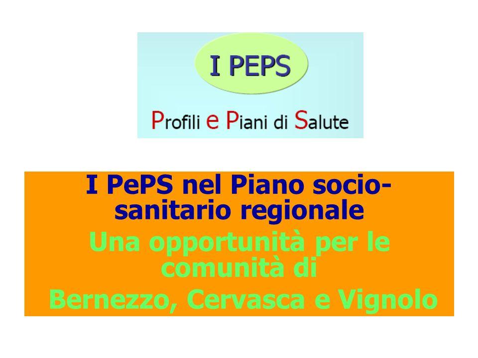 I PePS nel Piano socio- sanitario regionale Una opportunità per le comunità di Bernezzo, Cervasca e Vignolo