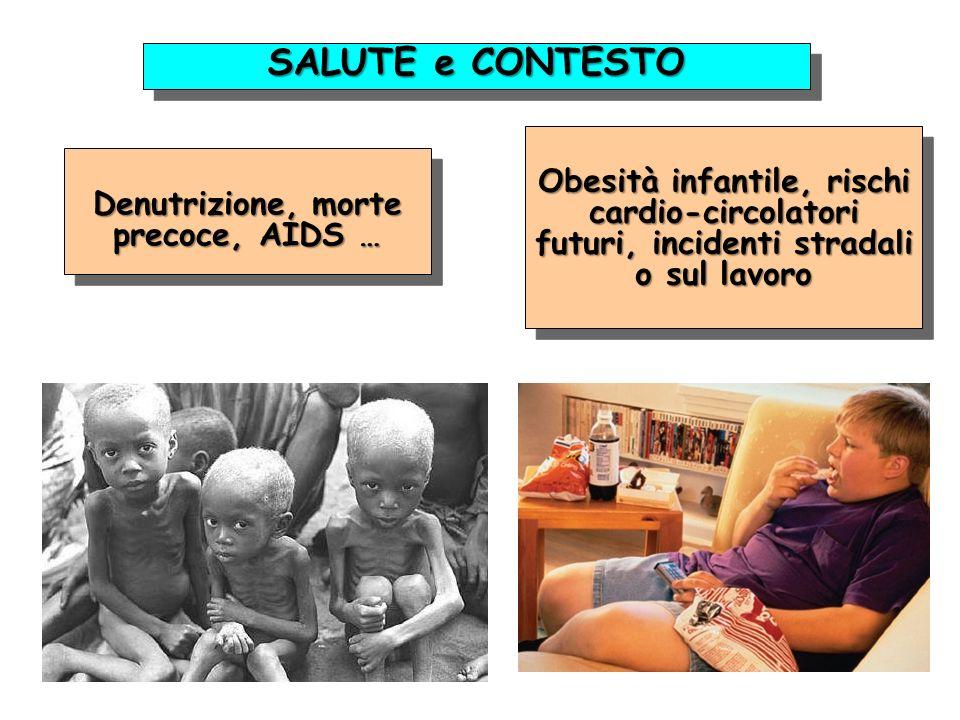 Denutrizione, morte precoce, AIDS … Obesità infantile, rischi cardio-circolatori futuri, incidenti stradali o sul lavoro SALUTE e CONTESTO