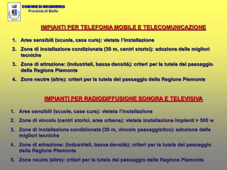 COMUNE DI BRUSNENGO Provincia di Biella IMPIANTI PER TELEFONIA MOBILE E TELECOMUNICAZIONE 1.Aree sensibili (scuole, case cura): vietata linstallazione 2.Zone di installazione condizionata (30 m, centri storici): adozione delle migliori tecniche 3.Zone di attrazione: (industriali, bassa densità): criteri per la tutela del paesaggio della Regione Piemonte 4.Zone neutre (altre): criteri per la tutela del paesaggio della Regione Piemonte IMPIANTI PER RADIODIFFUSIONE SONORA E TELEVISIVA 1.Aree sensibili (scuole, case cura): vietata linstallazione 2.Zone di vincolo (centri storici, area urbana): vietata installazione impianti > 500 w 3.Zone di installazione condizionata (30 m, vincolo paesaggistico): adozione delle migliori tecniche 4.Zone di attrazione: (industriali, bassa densità): criteri per la tutela del paesaggio della Regione Piemonte 5.Zone neutre (altre): criteri per la tutela del paesaggio della Regione Piemonte