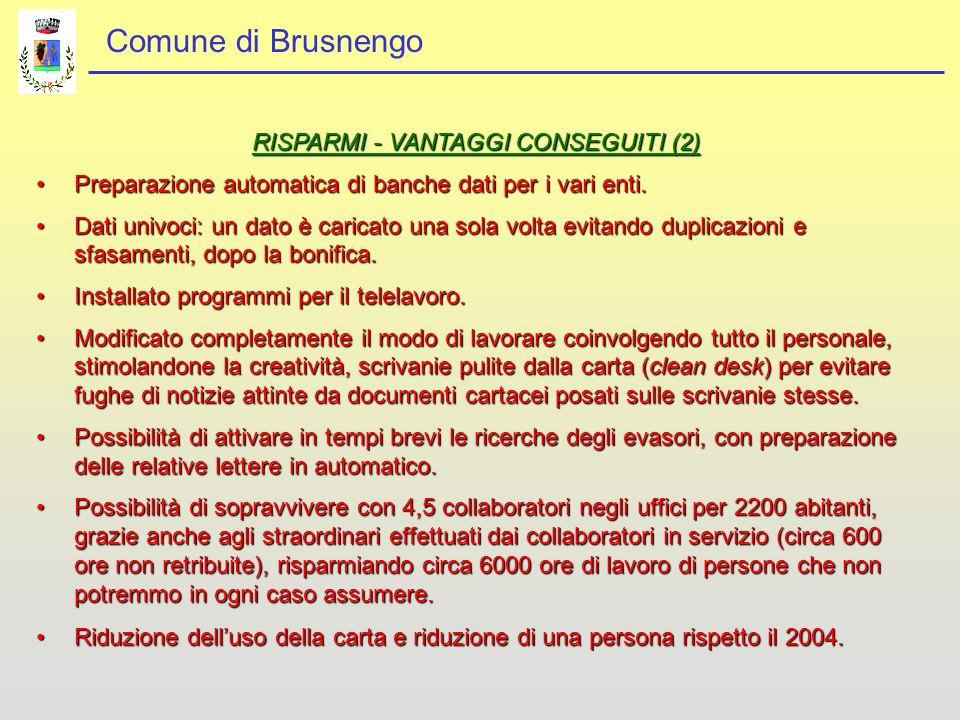 Comune di Brusnengo RISPARMI - VANTAGGI CONSEGUITI (2) Preparazione automatica di banche dati per i vari enti.Preparazione automatica di banche dati per i vari enti.