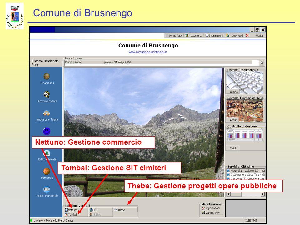 Comune di Brusnengo Nettuno: Gestione commercioTombal: Gestione SIT cimiteriThebe: Gestione progetti opere pubbliche