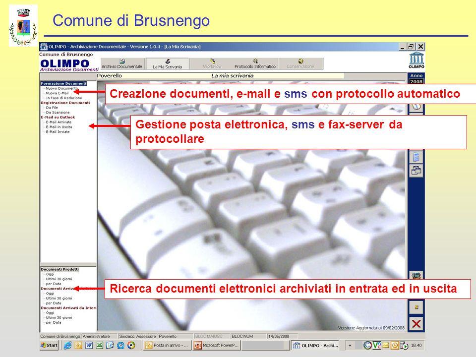 Comune di Brusnengo Ricerca documenti elettronici archiviati in entrata ed in uscitaGestione posta elettronica, sms e fax-server da protocollare Creazione documenti, e-mail e sms con protocollo automatico